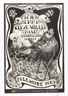 Black and white poster featuring a scene of skulls, and a moose with antlers in hand form.Ticket information below.