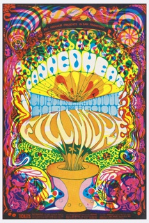 "Lithograph poster for 1968 concert in San Francisco, featuring Canned Heat, Gordon Lightfoot, and Cold Blood.  Border of swirling, interconnected figures, faces, breasts and curlicues in pink, yellow, purple, red, black. Text seems to grow out of an orange-and pink urn at the bottom of the page in a mushroom-like form.   Central block of text in stylized, distorted letters:  Canned Heat Gordon Lightfoot Cold Blood Fillmore West  Surrounding ""Fillmore West"" appears to be a background growing out of the border chaos, but is actually stylized green text on yellow:  Thurs Fri Sat. Oct 3 4 5 (lower left) Lights by Holy See (lower right)  Black banner along top edge with red text: Bill Graham Presents in San Francisco; block of text along bottom edge with ticket locations."
