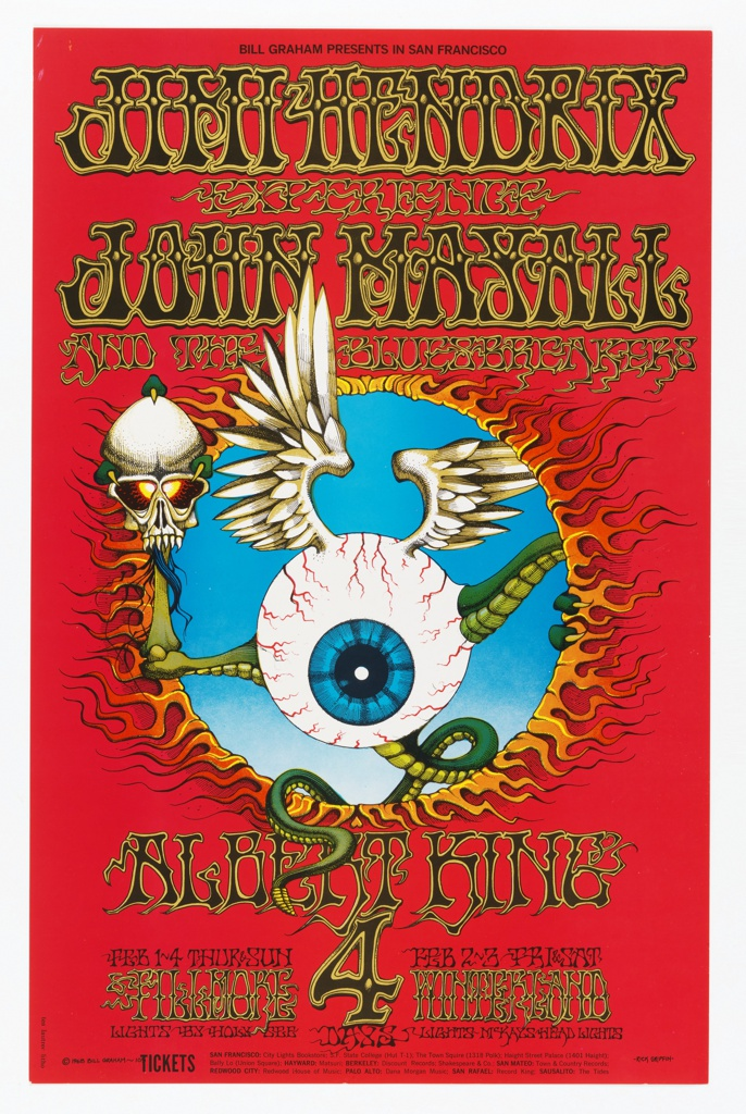 Poster features eyeball creature with reptilian limbs, feathered wings, and a skull burning through red background. Printed text in black: BILL GRAHAM PRESENTS IN SAN FRANCISCO; in black, outlined in yellow: JIMI HENDRIX / EXPERIENCE / JOHN MAYALL / AND THE BLUESBREAKERS / ALBERT KING [more data].