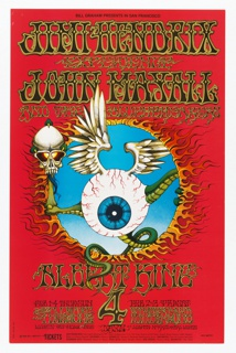 Poster features eyeball creature with reptilian limbs, feathered wings, and a skull burning through red background. Text in black: BILL GRAHAM PRESENTS IN SAN FRANCISCO; in black outlined in yellow: JIMI HENDRIX / EXPERIENCE / JOHN HAYALL / AND THE BLUESBREAKERS / ALBERT KING [more data].