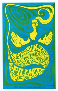 Poster features an abstract image of a woman in blue and yellow on a blue and green spiraled ground. In upper margin, black text: BILL GRAHAM PRESENTS IN SAN FRANCISCO; Below, in wavy form, yellow text: JIM KWESKIN JUG BAND / PEANUT BUTTER CONSPIRACY / THE SPARROW / LIGHTS BY HEADLIGHTS / AT THE FILLMORE / JUNE 2-3 [more info below].