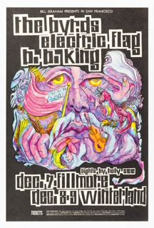 Poster featuring large purple face composed of different objects: American flag, guitar, people's heads. Image and text on black ground: BILL GRAHAM PRESENTS IN SAN FRANCISCO / the byrds / electric flag / b. b. king [additional information, dates, location].
