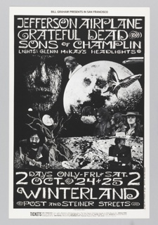 Black and white poster featuring photographs of band members over landscape, the moon, a tree, a butterfly.