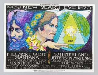 Poster featuring white text on black ground; colorful image of band members, flowers, triangle and peace sign. Additional ticket information.