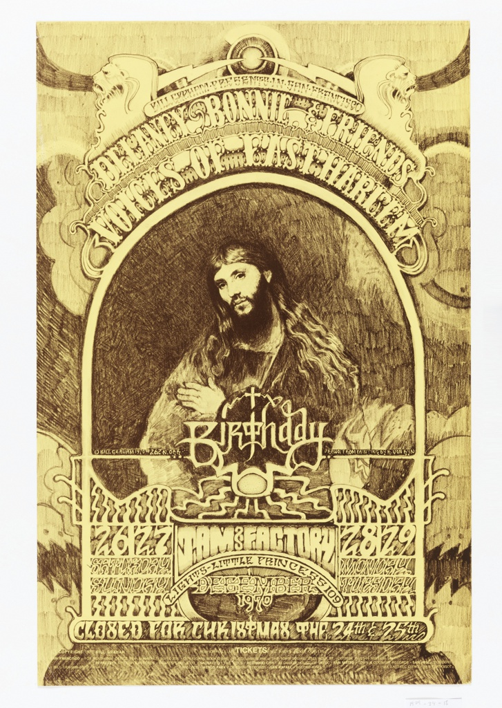 Poster in black-brown and white-cream featuring hand-drawn lettering and a central image of a long-haired Jesus Christ clasping his hands. Performance and ticket information below.