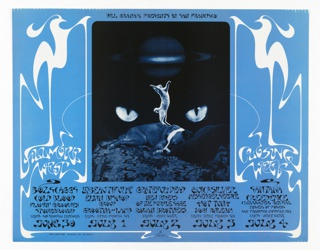 Poster featuring a cat standing on two feet on top of a sleeping dog; feline eyes in the background against black. Surrounded by blue ground with white and black text with whiplash curves.
