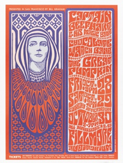 Poster in red-orange, purple and white featuring a black and white image of a woman wearing Egyptian-looking headgear and garb; right side has text. Text in white, upper left: BILL GRAHAM PRESENTS IN SAN FRANCISCO [ticket information below].