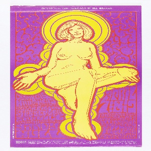 Poster of a nude woman whose skin and hair are both the same creamy shade of yellow.  She is outlined by deep red.  Behind her, yellow c-curves with purple outlining create a halo effect.  Behind these haloes, is red iron work that at the bottom is lettering.  The poster's background is purple.  The woman's legs, head, and arms break the poster up into four sections.