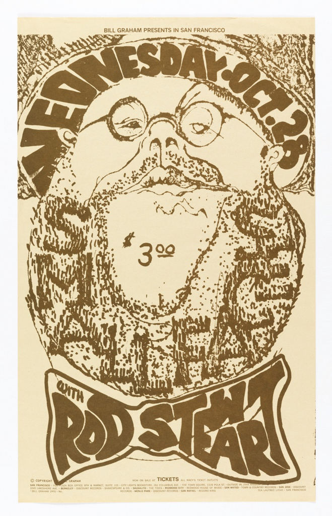 Poster in brown on cream ground. Image of a bearded man with text on his beard and a bowtie [ticket information below].