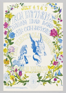 Poster featuring text, colorful floral vines, framing blue image of a girl and griffin [ticket information below].