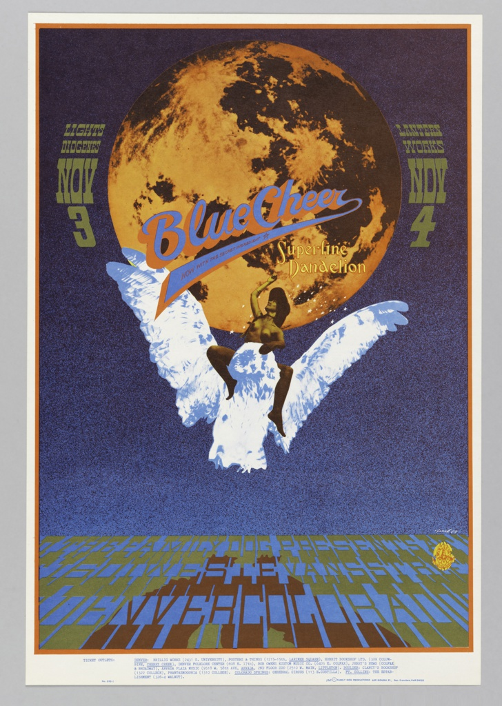 Poster featuring a full moon, nude female riding a white owl. In blue and orange across moon: Blue Cheer [ticket information below].