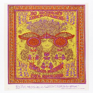 Poster featuring psychedelic image of three women attached by headbands; their hair curly, large red-orange and purple jewelry. Framed by orange border containing stylized fans [ticket information below].
