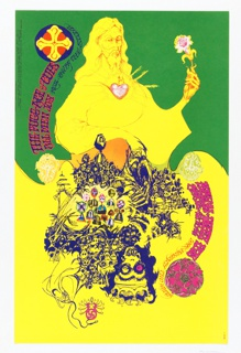 Poster featuring yellow image of a man holding a flower; shadow below changes into a blue (evil) figure composed of several objects.