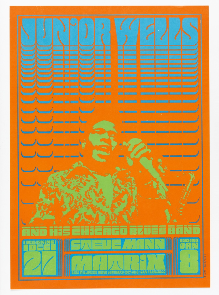 Poster of Junior Wells in green singing with microphone in hand on red background. Text above and below image.