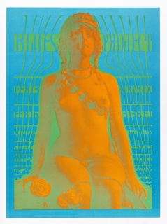 Poster featuring psychedelic image of a nude woman kneeling against turquoise background. Green text.