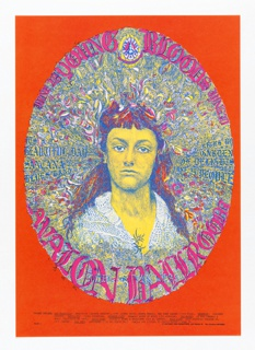 Poster featuring psychedelic image of a woman with fanned out colorful hair, which is formed into an oval, on an orange background. Text throughout in pink and blue.