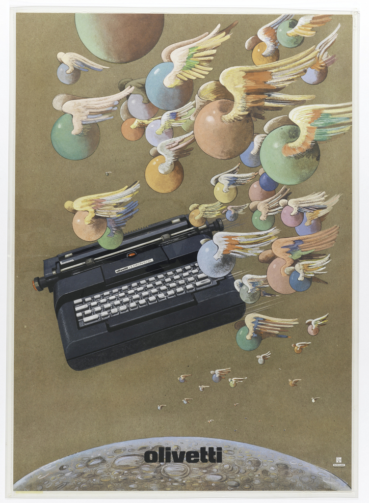 Poster featuring an Olivetti typewriter flying through the air along with winged colorful spheres, all above a portion of the moon.