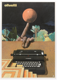 Poster featuring a typewriter sitting on a stage-like surface; a platform cropped on lower left; in the background, a hand balancing a ball on a finger with landscape of trees and dark sky.