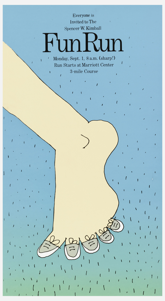 Poster features a cartoon of a foot with each toe in a sneaker. Text in black for a 3-mile course.