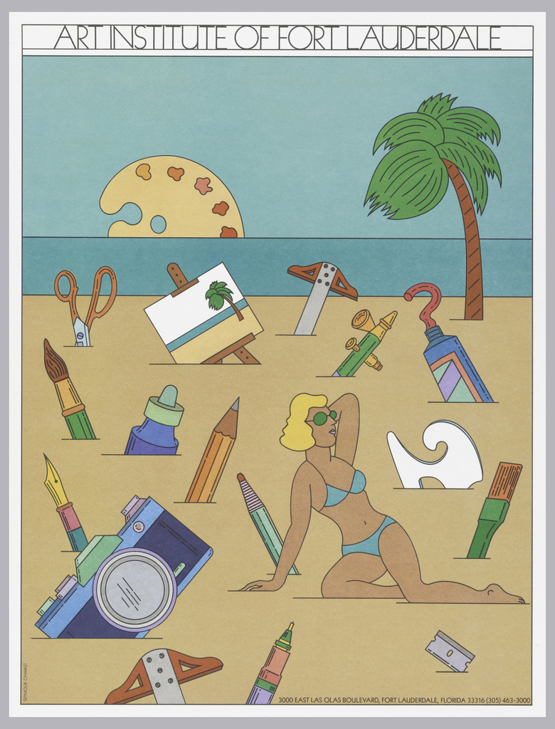 Vertical retangle. Beach scene with female figure in blue bikini reclining on the sand at center left. A palm tree near the shoreline and the ocean beyond. The rest of the scene populated with art-making tools: the sun over the ocean is an artist's palette, and other art -making objects protrude from the sand, including scissors, an easel and canvas with a painting of a beach scene, T-squares, a tube of paint, paintbrushes, a pen, pencil, charcoal pencil, camera, and razor blade.