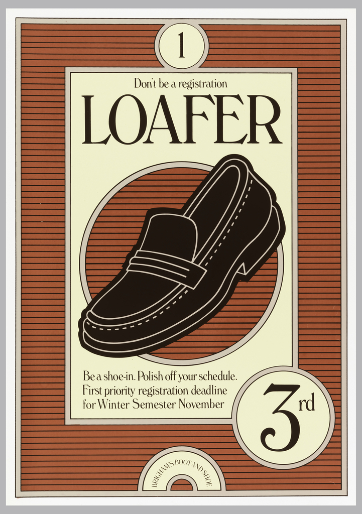 Poster featuring an image of a loafer with brick-colored horizontal stripes.