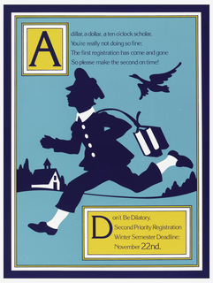 Poster featuring a blue silhouette of a schoolboy running. Text in blue in yellow box.