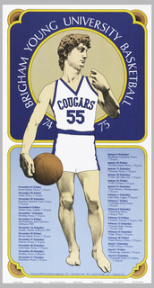 Poster features the David (by Michelangelo) dressed as a basketball player with game information.