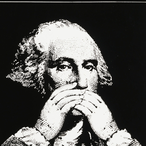Three images of George Washington, covering ears, covering eyes, and covering mouth. Information above.