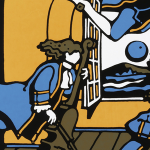 Poster features orchestra members dressed in 16th century garb, flying around a room with a window open.