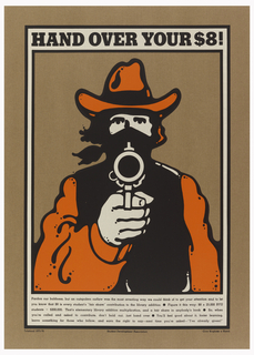 Pseudo-wanted poster of a man holding gun to viewer. Below, information about library dues.