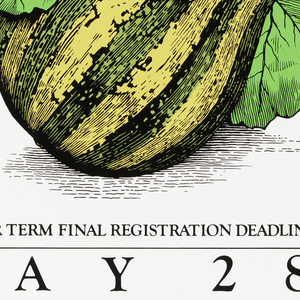 Large image of a gourd with information about registering for classes.