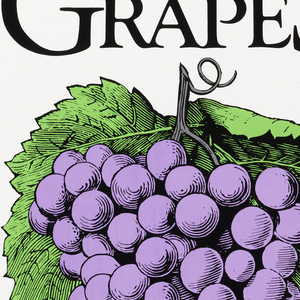 Large image of a bunch of grapes with information about registering for classes.