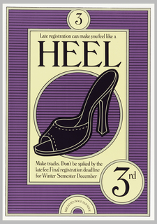 Image of a dark purple high heeled shoe on a ground of purple horizontal stripes; information about registration.