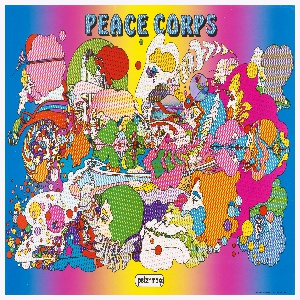 Poster features a colorful—some filled in with Ben-day dots—chaotic mélange of faces, clouds, landscapes, etc.