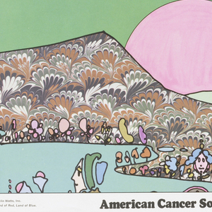 Poster featuring three registers of images: flying man, two people flying through space with planets, and a landscape with figures, for the American Cancer Society.