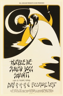 For Fillmore Auditorium, San Francisco, CA by David Singer. Poster featuring biomorphic design in white, yellow and black with woman coming out of it. Text below, in black ink: HUMBLE PIE / SWAMP DOGG / SHANTI.