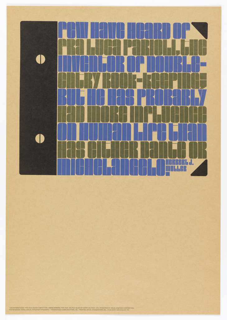 Poster featuring lines of text in blue and gray in notebook form.