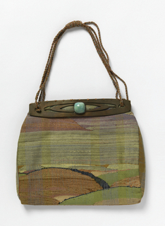 Small flat tapestry-woven handbag with side gussets and cutout copper frame with jadeite cabochons. Each side suggests a landscape with low hills and a large expanse of sky. Colors are sky blue, yellow-green, green, blues, lavenders, yellows, rusts and pinks. Plaited cord of same colors used for straps. Lined with gold pongee.
