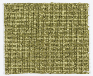 Light green, off-white and metallic thread in an overall pattern of vertical and horizontal stripes forming squares using warp and weft floats. Warp and weft contain same group of yarns.
