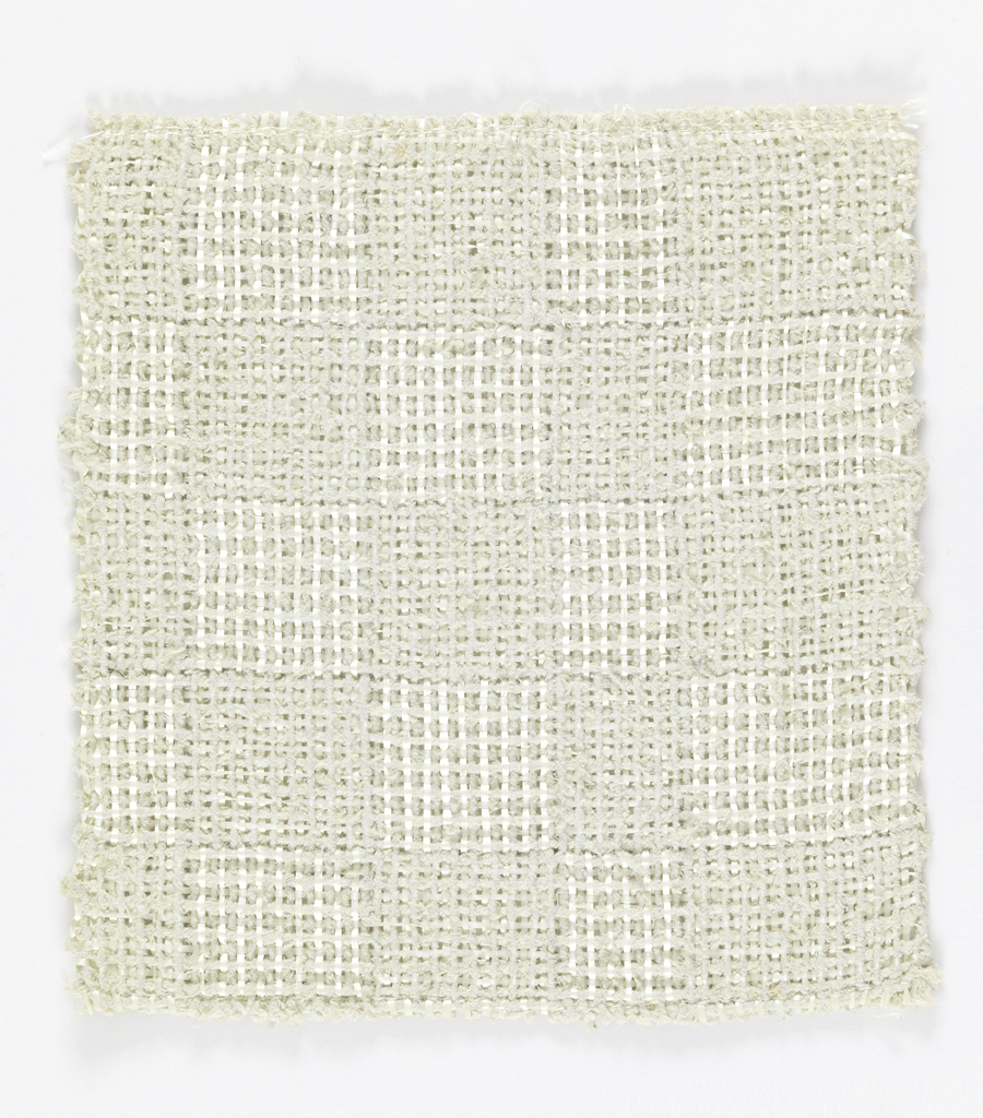 Warp: white rovana and white asbestos, Weft: white rovana and white asbestos. Plain weave with changes in the alternation of material  of warp and weft to produce squares.