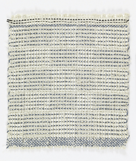 Warp: white rovana and white asbestos; Weft: alteration of blue rovana and white asbestos. Plain weave with changes in alternating of material on color of warps and wefts to produce squares.