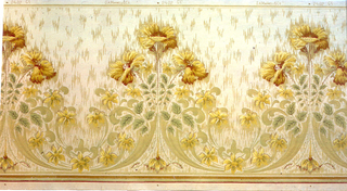 Large motif is group of three yellow poppies. Acanthus leaf scrolls between motifs, containing smaller yellow flowers of a different variety. Background contains a simulated moire design.
