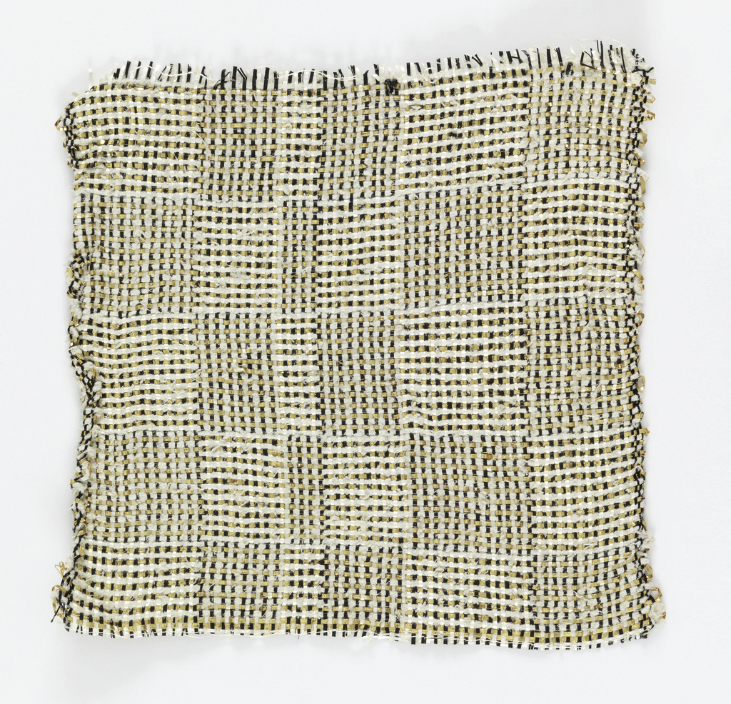 """Warp: white and black rovana, natural asbestos; Weft: natural asbestos, gold lurex combined with fine metal-wrapped yarn.  Plain weave with changes in order of the colors of warp and weft to produce rectangles, sometimes called """"Log Cabin."""""""