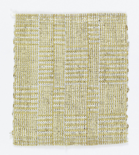 Warp: gold and silver lurex combined with a fine metal-wrapped yarn (fine line at each edge) Weft: gold and silver lurex combined with a fine metal wrapped-yarn.