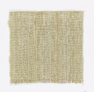 Warp: gold and silver lurex combined with a fine metal-wrapped yarn (fine linen at each edge) Weft: textured linen