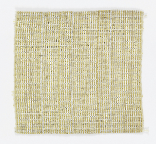 Warp: gold and silver combined with a fine metal-wrapped yarn (fine linen at each edge)  Weft: natural fiber
