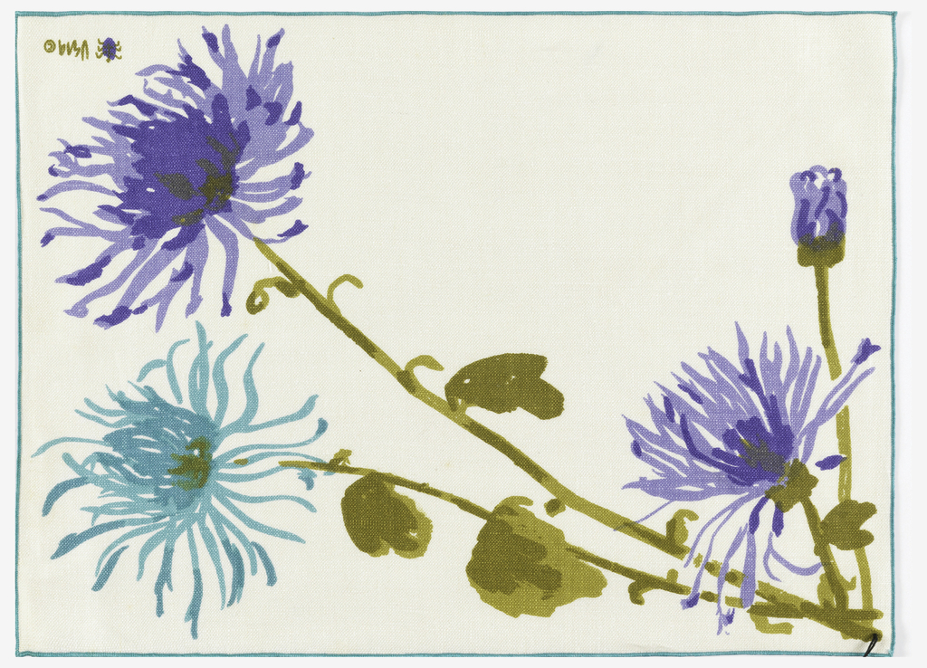 Set of four placemats and four napkins displayed in a cardboard box. The placemats and napkins have stylized flowers in blue and purple printed on white.