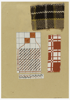 Two weave diagrams and one drawing of doublecloth cross section and two woven textile samples, all attached to a piece of cardboard. One sample (a) is doublecloth in red and white cotton and the other is double faced plain weave and twill in tan, yellow, brown and white.