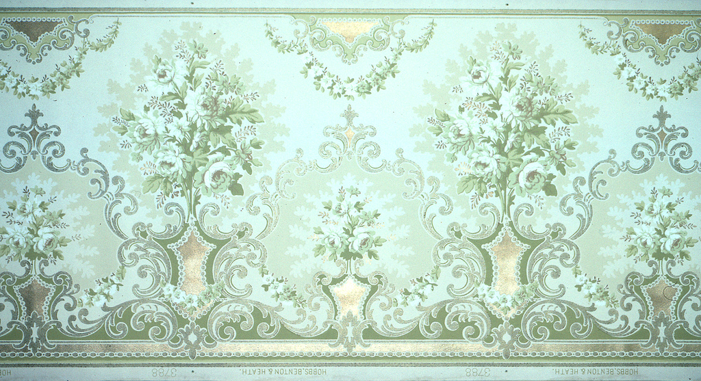 "Bouquets of flowers, alternating between large and small. ""C"" scrolls frame the small bouquets and run horizontally across the bottom. Floral swags hang from the top. Printed in gold, silver, and shades of green. Background is a pale green."
