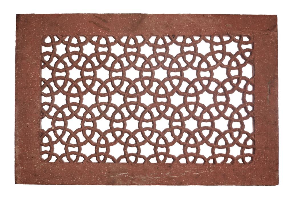 rectangular with pierced interlocking circular motifs framed by a solid stone border